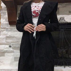 Black wool maternity coat